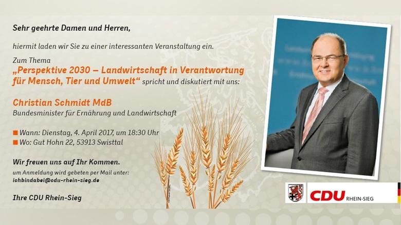 Einladung Landwirtschaftsminister Schmidt